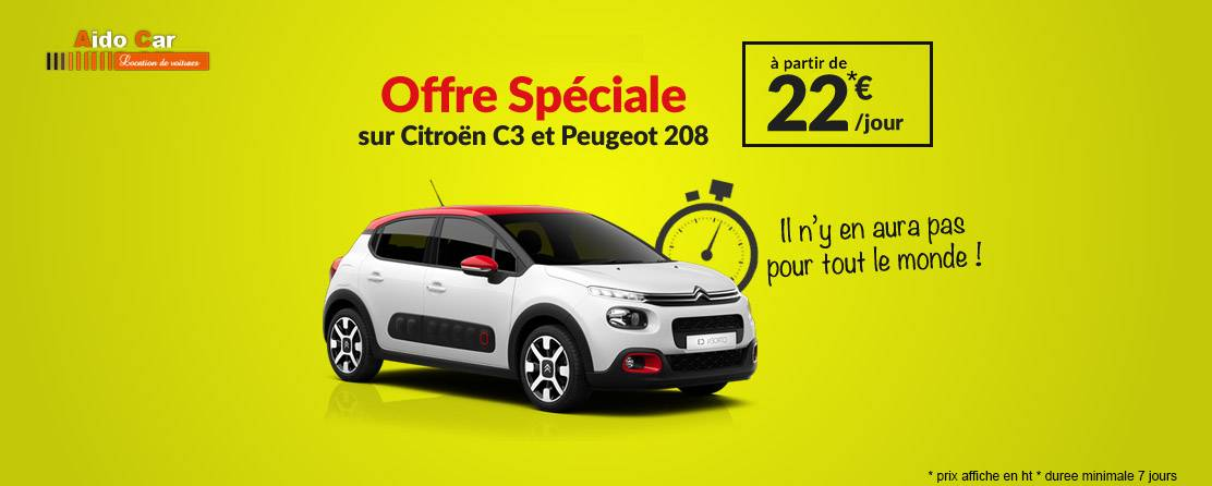 location peugeot 208 citroen c3 casablanca